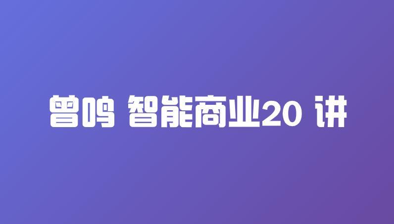 【赠】曾鸣 智能商业20 讲