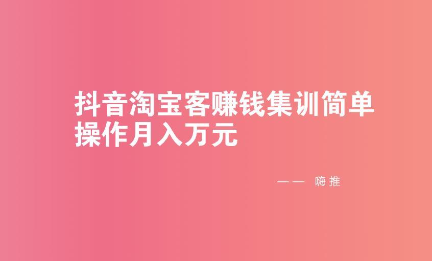 嗨推:抖音淘宝客赚钱集训简单操作月入万元