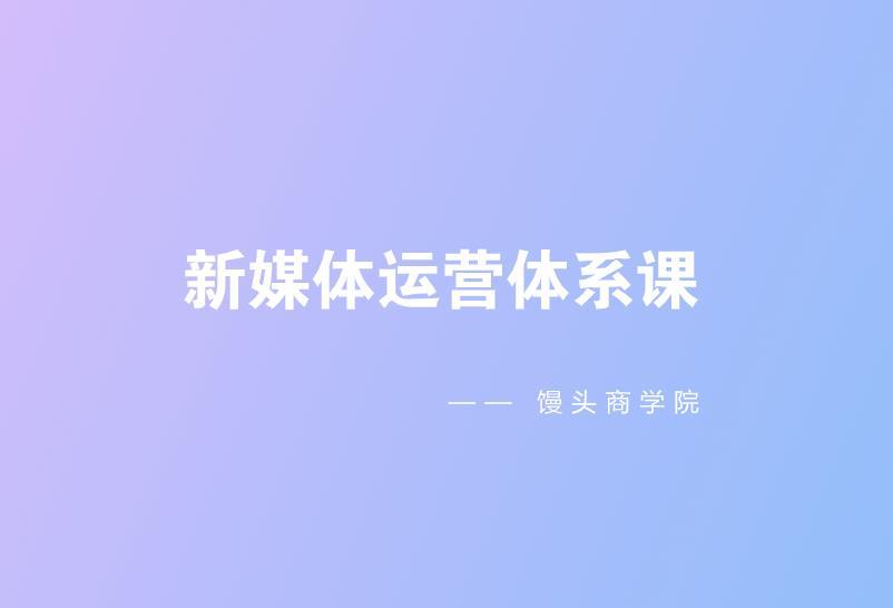 【赠】馒头商学院新媒体运营体系课